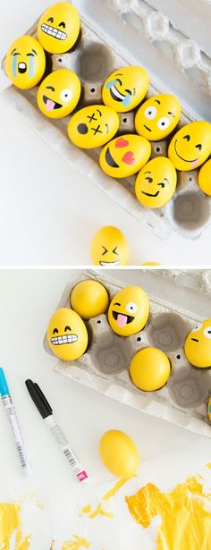 DIY emoji Easter eggs - how cute and so simple to do. Place them in the garden for an Easter egg hunt.