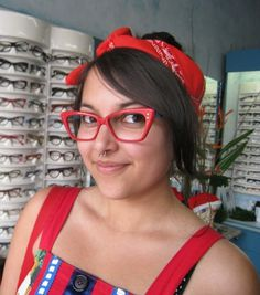 23fc1772de Custom made Peta with red studs and turquoise arms from iSpex Funky Spex of  Melbourne. www.funkyspex.com