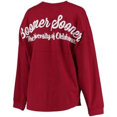 Oklahoma Sooners Women's Crimson Rally Cry Sweeper Long Sleeve T-Shirt
