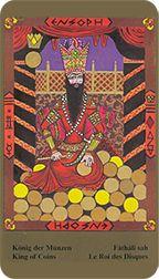 King of Coins from the Kazanlar Tarot at TarotAdvice Tarot Reading, Tarot Decks, Tarot Cards, Art Gallery, Advice, Happy, Coins, Painting, Image