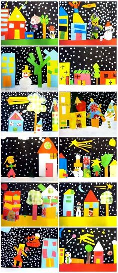 Christmas collages,seen at www. Winter Art Projects, Winter Crafts For Kids, Art For Kids, Craft Kids, Kindergarten Art, Preschool Art, Christmas Collage, Christmas Scenes, Winter Christmas