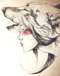 Wolf & woman's face drawing art