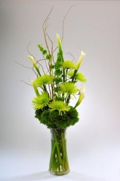 Green Floral Arrangement, clear vase