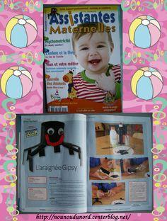 l'araignée que j'ai réalisée pour le magazine assistantes maternelles  N° 95 du mois Novembre 2012.