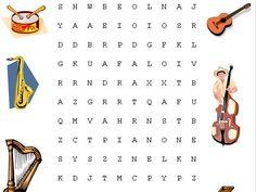 Osmisměrka – hudební nástroje – Dětské stránky Music School, In Kindergarten, Flute, Word Search, Words, Children, College, Manualidades, Young Children