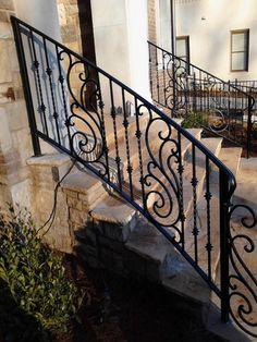 Decorative Outdoor Handrails to Add the Beauty of the Stairs Decorative Exterior Wrought Iron Handrail Railing mediterranean house outdoor design ideas Porch Handrails, Outdoor Stair Railing, Front Porch Railings, Iron Handrails, Front Stairs, Handrails Outdoor, Iron Railings, Wrought Iron Stair Railing, Iron Staircase