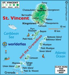 Map of St. Vincent & the Grenadines.