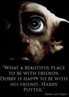 """What a beautiful place to be with friends. Dobby is happy to be with his friend...Harry Potter."""