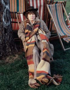 Tom Baker | Tom Baker, London, 1975  If someone would be so kind as to knit me a scarf like the Fourth Doctor's... I'd be quite fond of them for the rest of my life.