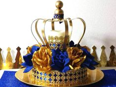 new royal prince baby shower crown centerpiece boys royal blue and gold baby shower theme