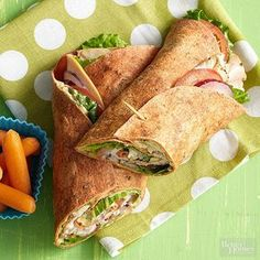 Wraps are officially lunchtime's MVP. For this tasty take on the noon break, spread hummus on tomato-basil-flavor flour tortillas. Pile on sliced peppered turkey breast, romaine lettuce, sliced tomatoes, and red onions.