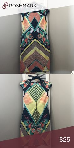 Bisou Bisou print dress Green, yellow and orange print dress. Never worn! Perfect for summer Bisou Bisou Dresses Midi