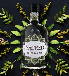 Sacred use vacuum distillation to deliver uniquely aromatic and fresh flavours in their gins. So distillates are not boiled like a domestic soup but release their flavours at only 30°C. Citrus stays fresh, spice notes remain sharp and intense, not dulled. We brought the cardamom of this great gin to life - a unique spice rich in myth, superstition and mysterious fables. The design invokes the mysteries and intrigue of the Orient as well as the complexity of the flavours.