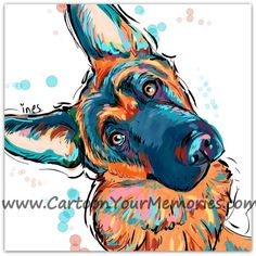 German Shepherd art print CAN CUSTOMIZES WITH PIC OF YOUR DOG