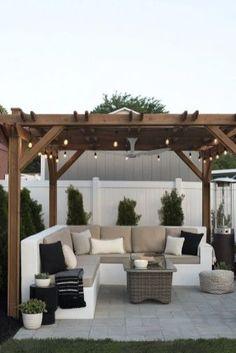 Small Backyard Design, Backyard Patio Designs, Small Backyard Landscaping, Pergola Patio, Diy Patio, Patio Stone, Patio Privacy, Flagstone Patio, Concrete Patio
