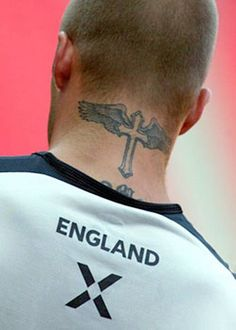 David Bekham's Tattoo Design and Meaning: Cross David Beckham Tattoo Design On Neck ~ Celebrity Tattoos Inspiration