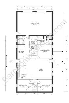 Barn Homes Floor Plans, Barndominium Floor Plans, Pole Barn House Plans, Garage House Plans, Pole Barn Homes, House Floor Plans, Small House Plans, Steel Building Homes, Open Kitchen And Living Room