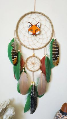 Made with attention and love this fox dream catcher brings its owners good dreams and positive energy Perfect for: home decor, nurseries, children's bedrooms, birthdays, parties, photo props, and much more! Measurements: Dreamcatcher ring 6 inches across. 18 inches length ( not including cotton hanger) Goose Feathers, Pheasant Feathers, Boys Room Decor, Kids Room, Nursery Art, Nursery Decor, Dream Catcher Decor, Handmade Baby Gifts, Cute Fox