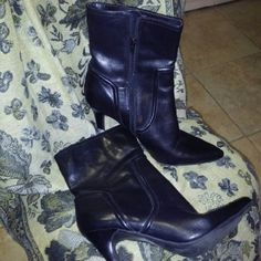 Genuine Black Leather Ankle Boots Genuine Black Leather Ankle Boots by Nine West. Sz 10. 4 inch heel. Beautiful boot in great condition. Used a few times. Nine West Shoes Ankle Boots & Booties