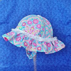 Custom for Blondie Baby Sunhat with Pink and Turquoise Paisley Floral with Chin Straps by AdorableandCute on Etsy