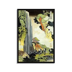 "Ono Waterfall at Kisokaido (Black Frame: 14""W x 19""H)"