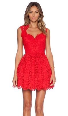 Alexis x REVOLVE Antilles Scalloped Detail Dress in Red Lace | REVOLVE