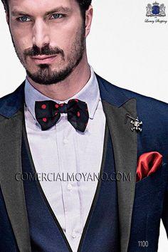 Blue polka dot silk bow tie 10272-9000-5082 Ottavio Nuccio Gala.