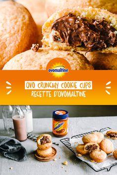 Attention au Cookie Monster! Tu as envie de Cookies d'un autre genre? Alors vite, essaie la recette de l'Ovo Crunchy Cookie Cup... la délicieuse Crunchy Cream d'Ovomaltine enrobée d'une croustillante pâte à Cookie. Les Ovo Crunchy Cookie Cups garantissent un loooong plaisir croquant. Et plus longtemps, c'est mieux! 😉 Baking Recipes, Snack Recipes, Dessert Recipes, Healthy Recipes, Snacks, Cookie Cups, Cookies Et Biscuits, Food Cravings, Food Inspiration
