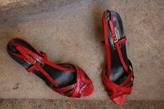 526e36a4de43 40% ORCADE very sexy and elegant black and red snake and leather heeled  sandals italian pumps with slingbacks and subtil design