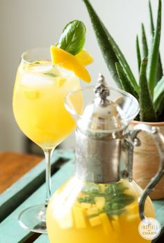 Pineapple, Mango and Basil Sangria #pineapple #mango #basil #summer #sangria #cocktail #recipe Party Drinks, Fun Drinks, Beverages, Fun Cocktails, Cold Drinks, Sangria Recipes, Cocktail Recipes, Refreshing Drinks, Summer Drinks