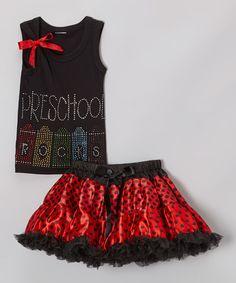 Another great find on #zulily! Black & Red 'Preschool' Tank & Pettiskirt - Toddler & Girls #zulilyfinds