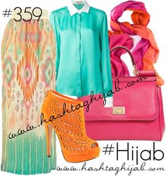Hashtag Hijab Outfit #359 the color mic is amazing and soo warm , pink orange mint and pattern
