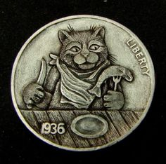 """Hobo Nickel """"What's For Supper?""""  Cat Kitten Mouse by Howard Thomas"""