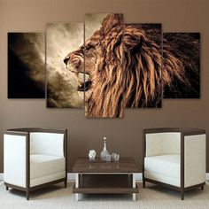 HD Prints Poster Framework For Living Room Wall Art 5 Pieces Howling Lion Canvas Paintings Modular Abstract Pictures Home Decor Abstract Pictures, Wall Art Pictures, Canvas Pictures, Canvas Wall Art, Wall Art Prints, Canvas Prints, Canvas Canvas, Framed Canvas, Fierce Lion
