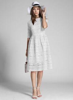 Polyester Solid Short Sleeve Knee-Length Vintage Dresses (1015617)