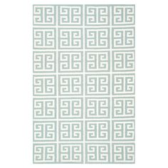 Hand-woven+flatweave+wool+and+banana+silk+rug+with+a+blue+Greek+key+motif.+  Product:+RugConstruction+Material:+W...