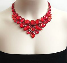red bib necklace - red rhinestone bib necklace perfect for bridesmaids, prom, wedding, gift or for you NEW