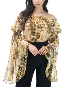 Loving this Gold Citron Abstract Bell-Sleeve Off-Shoulder Top on #zulily! #zulilyfinds