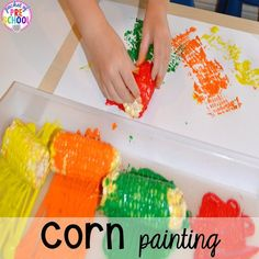 Corn painting Thanksgiving and turkey themed activities and centers for preschool pre-k and kindergarten math literacy fine motor character and Fall Preschool Activities, Preschool Lessons, Preschool Classroom, Toddler Activities, Preschool Centers, Preschool Fall Theme, Art Activities For Preschoolers, November Preschool Themes, Harvest Activities