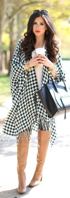 Airport And Travel Outfits Give us a look! @ dapperNdame Houndstooth Poncho Fall Inspo by The Sweetest Thing -Read Style Casual, Casual Outfits, Cute Outfits, Fashion Outfits, My Style, Womens Fashion, Travel Outfits, Fall Winter Outfits, Autumn Winter Fashion