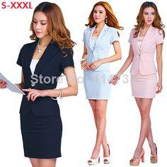 Hot Sale Women Formal Work Wear 2015 Summer New Fashion Professional Suit Blazer Skirt Female Career Business Dress Clothing Set