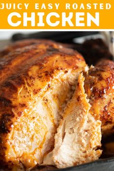 A juicy roasted chicken recipe that's easy to prepare and make! Perfect for a busy weekday. #roastedchicken #easychickenrecipes #chickendinnerideas