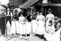 BAL MAIDENS (1905): and miners at an unspecified Cornish mine. 'The women's jobs were repetitive, often dirty and wet, their hours long. Breaking up the ore for smelting was exhausting work, using heavy hammers to smash the stone into small pieces, often with little shelter from the weather. Compared with the men, wages were poor, around 4d (2p) per day for younger girls, rising to perhaps 1 shilling (5p), and if the women couldn't work they weren't paid.'