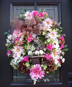 Easter Wreath Chocolate Eggs Pink Spring Wreath by LuxeWreaths, $179.00