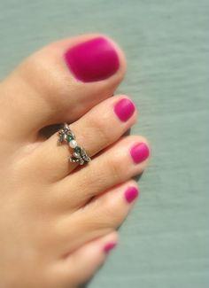 Toe Ring, Dragonflies, Pearl, Metal Bead Toe Ring