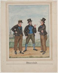 Drie mannen in dracht, Doornspijk. 1842-1864 kunstenaar: Haasloop Werner, Heinrich Gottfried #Veluwe #Gelderland #oudedracht #Elburg