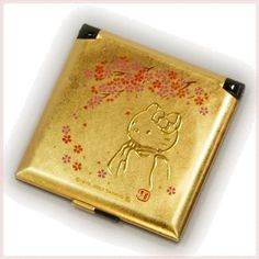 Hello kitty gold leaf mini compact mirror kimono sakura