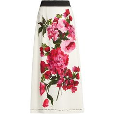 Dolce & Gabbana Peony-print crepe skirt (4.065 RON) ❤ liked on Polyvore featuring skirts, white multi, elastic waist skirt, white knee length skirt, white crepe skirt, dolce gabbana skirt and crepe skirt