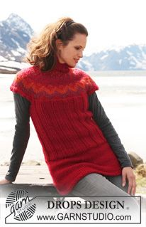 """DROPS tunic in """"Eskimo"""" with short raglan sleeves and pattern. Size XS - XXXL. ~ DROPS Design"""