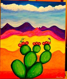 If you like hummingbirds and mountains I recommend this painting. Original painting, on high quality sturdy canvas that is 1 thick and sprayed with sealer. Hummingbird Painting, Cactus Painting, Cactus Art, Cactus Plants, Mexican Paintings, Decoration Plante, Desert Art, Southwest Art, Arte Popular